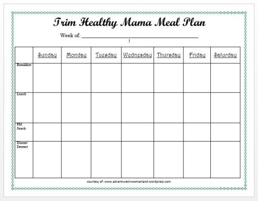 THM Meal Plan Sheet