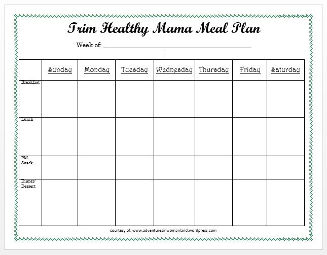 Blank Meal Plan Sheet
