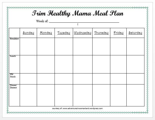 Blank Meal Plan Sheet